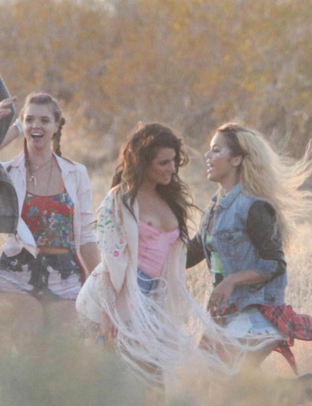 Lea Michele sur le tournage d'un clip