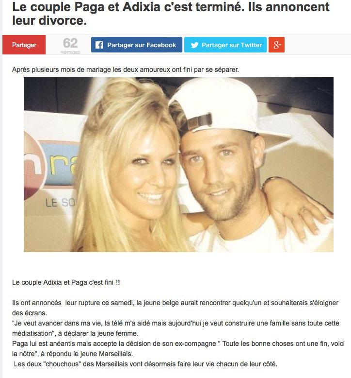 Les rumeurs de divorce de Paga et Adixia