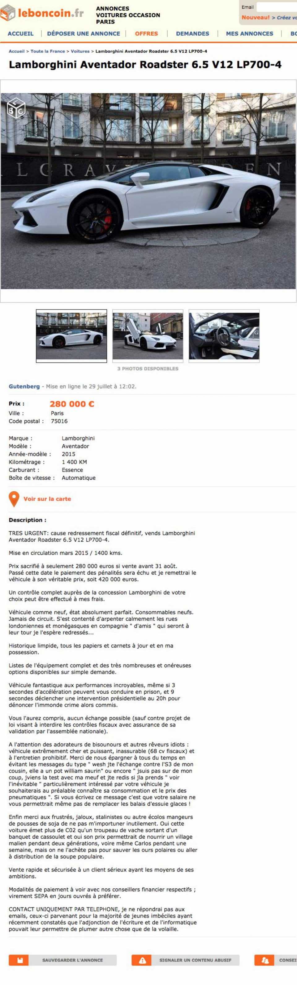 annonce insolite sur le bon coin il vend sa lamborghini 280 000 euros. Black Bedroom Furniture Sets. Home Design Ideas