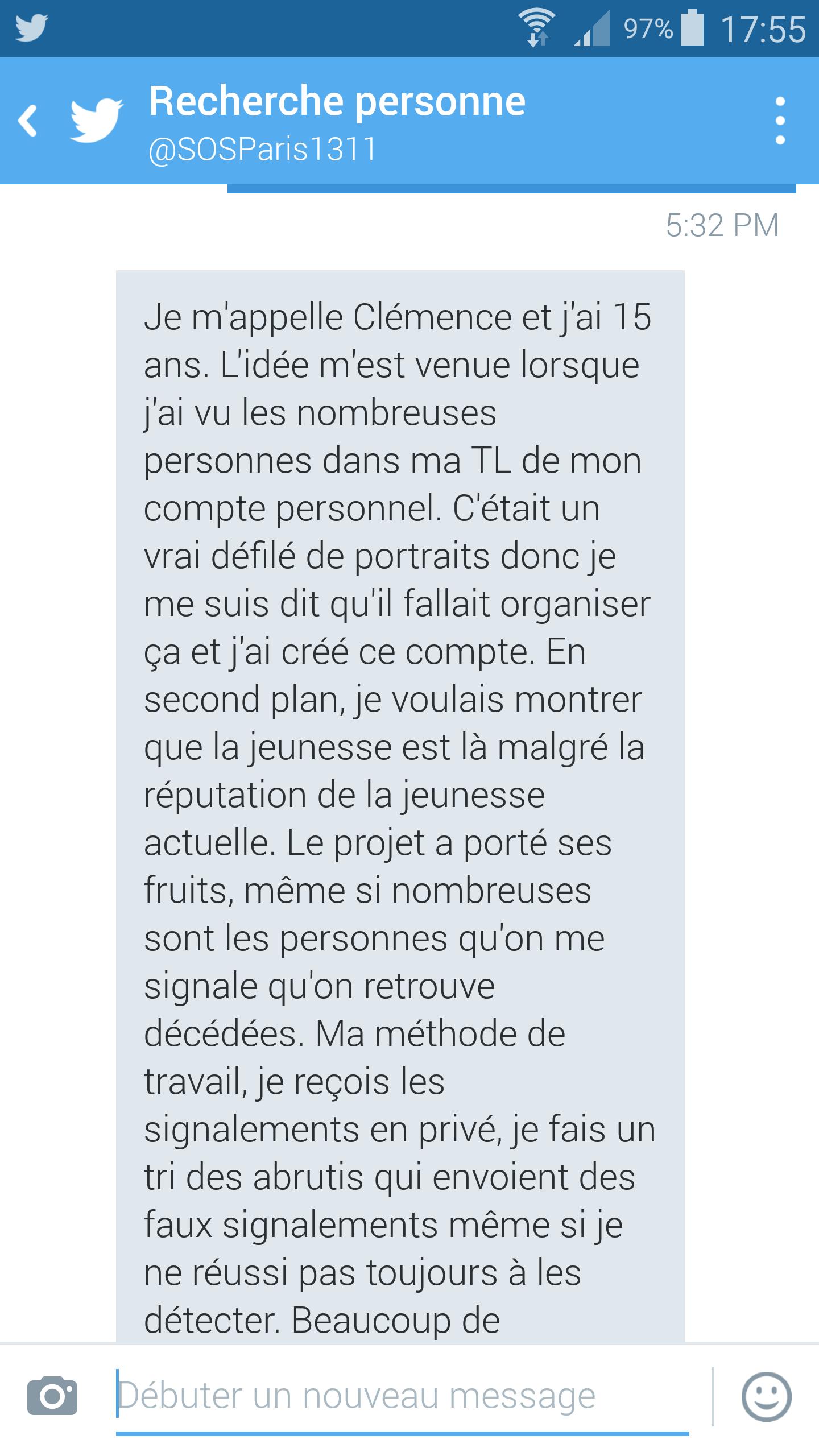 Attentats à Paris A 15 ans, elle crée un compte twitter pour aider les disparus