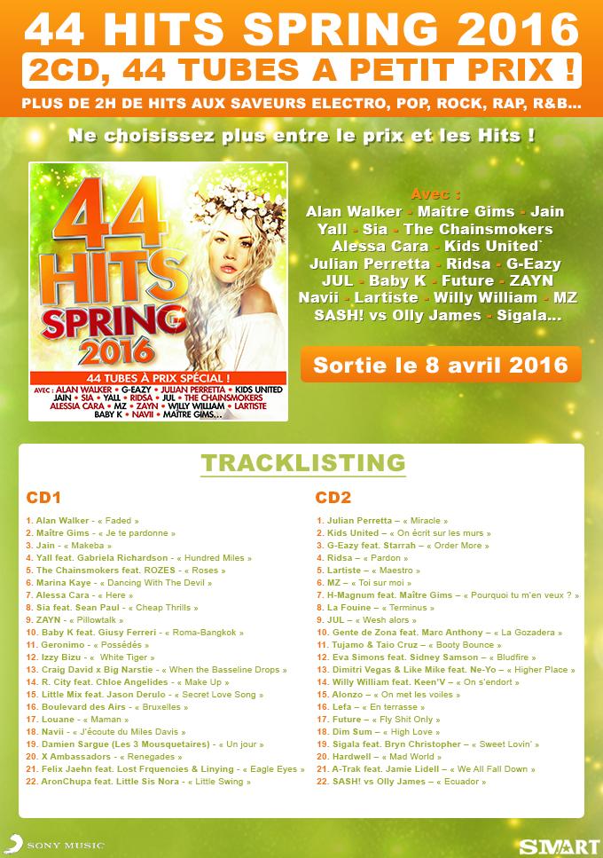 Concours : Gagnez la compil' « 44 Hits Spring 2016 »
