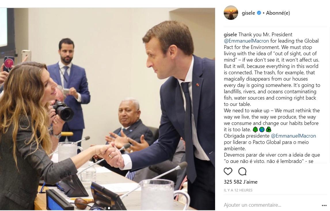 Gisele Bundchen sous le charme d'Emmanuel Macron : Le cliché qui ne devrait pas plaire à Brigitte !