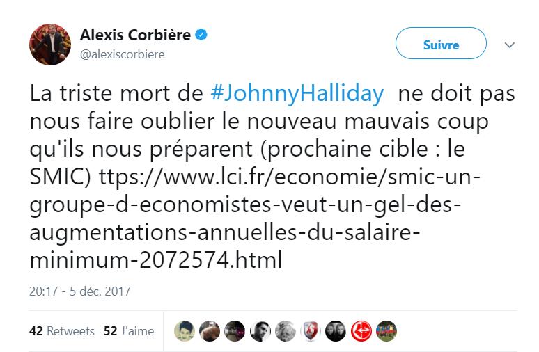 Mort de Johnny Hallyday : «L'hommage» d'Alexis Corbière provoque la colère des internautes