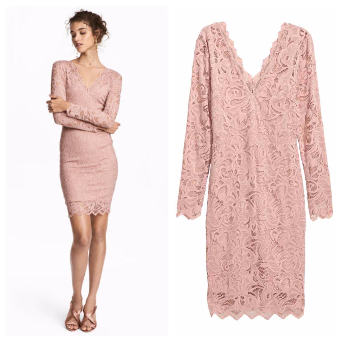 Robe ajustée en dentelle couleur rose poudré H&M