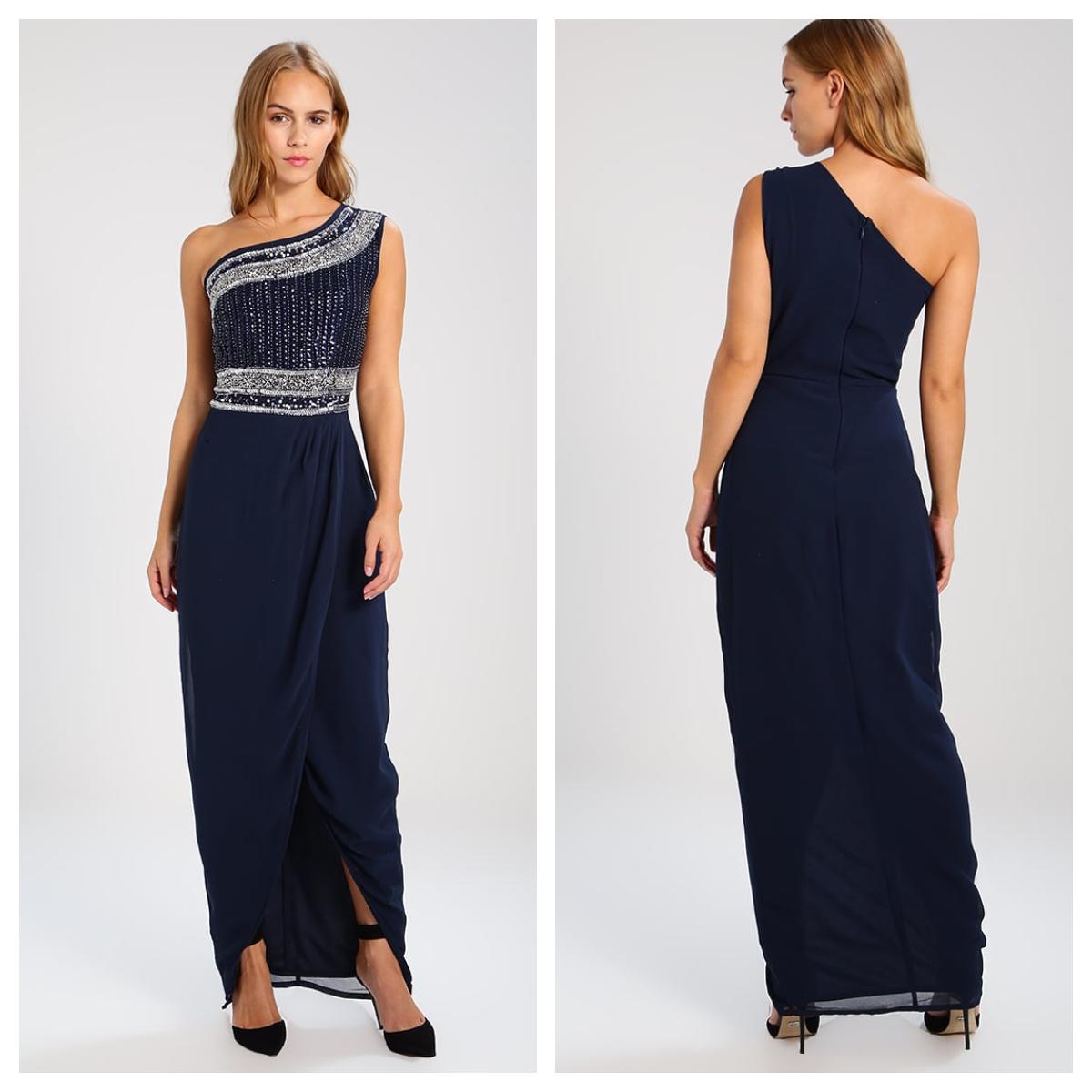 Une magnifique robe longue bleu foncé de chez Zalando