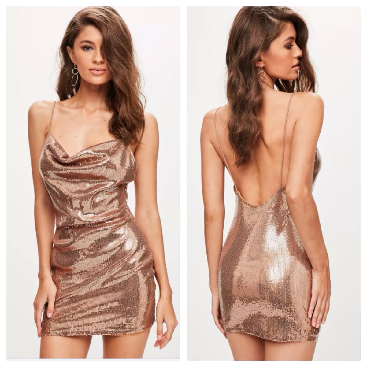 Robe sexy en sequins dorés de chez Missguided