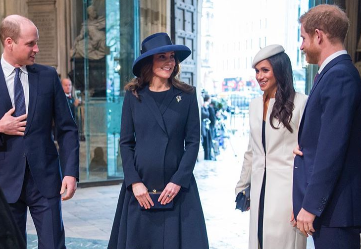 8 – Kate Middleton et le prince William, le prince Harry et Meghan Markle (Mars2018)
