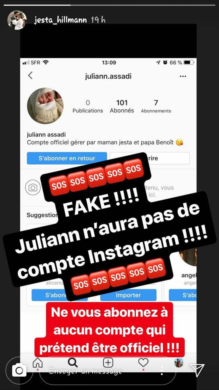 Capture d'écran de la story instagram de Jesta Hillmann