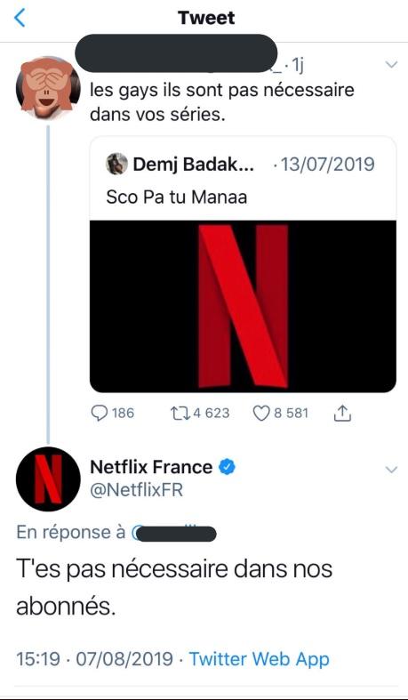 La réponse cash de Netflix France à un abonné homophobe
