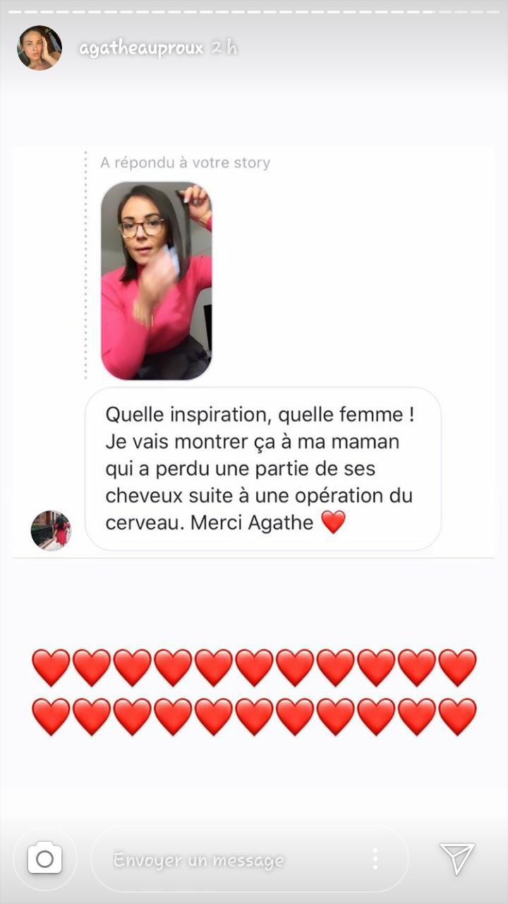 Capture d'écran de la story instagram de Agathe Auproux