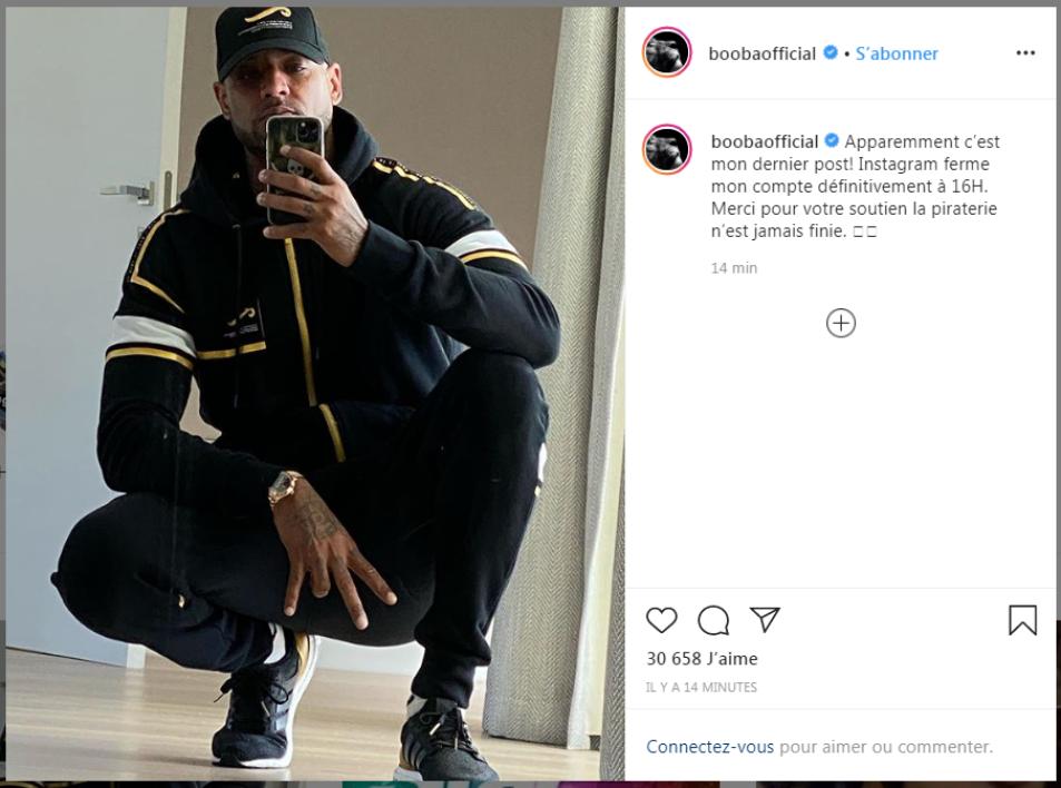 Booba révèle que son compte Instagram a été supprimé