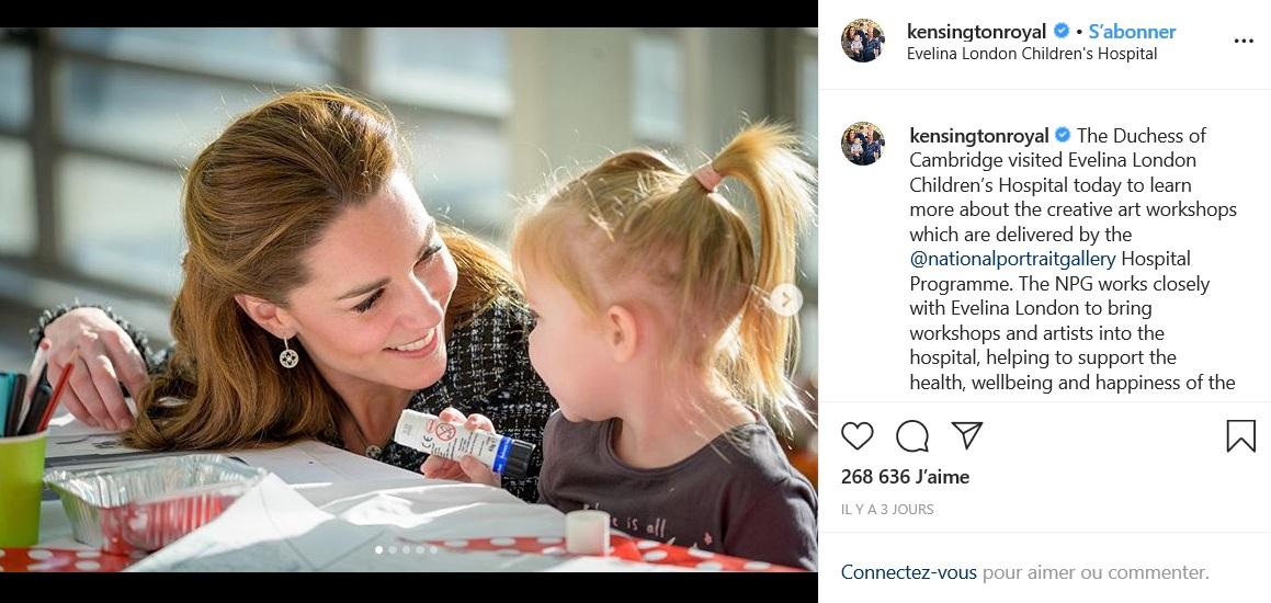 Kate Middleton a également visité cette semaine des enfants malades