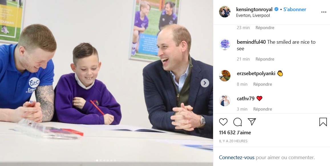 Le prince William en viste à Everton