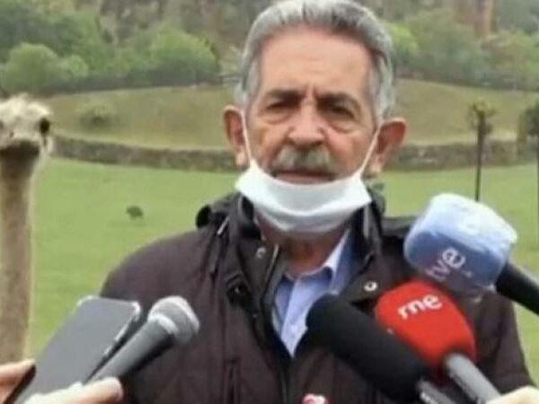 Une autruche vole la vedette à un homme politique espagnol